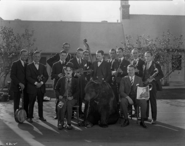 Chaplin, a bear, and the Abe Lyman Orchestra during production of The Gold Rush