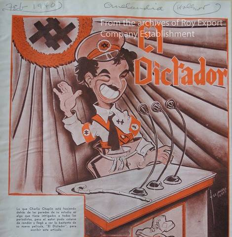 Spanish press clipping for The Great Dictator (1940) from the Chaplin archives