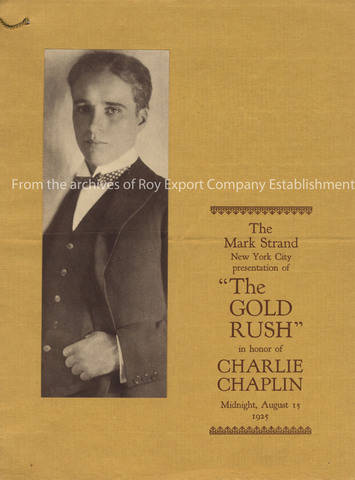 Program for the New York premiere of The Gold Rush, 1925