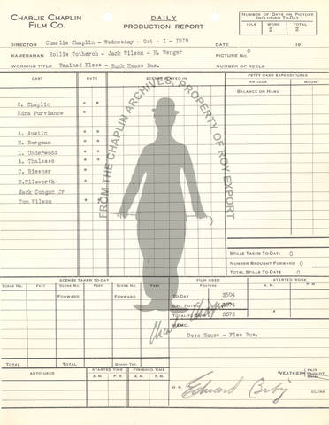Daily production report dated October 1, 1919 in which a dosshouse set was used to shoot a trained-flea sequence.