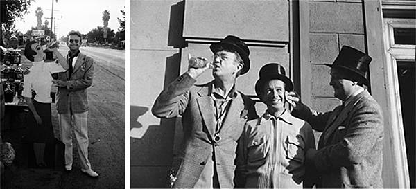 Photo on left: Karl Struss; Photo on right: L to R Karl Struss, Rollie Totheroh (cameramen on The Great Dictator) and Ed Voight (make up); Photos by Dan James